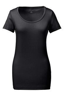 Le T-Shirt Col Ballerine Large Uni Manches Courtes Femme