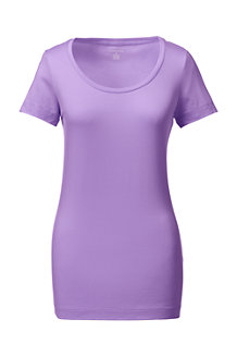 Women's Short Sleeve Fitted Cotton/Modal Scoop Neck Tee