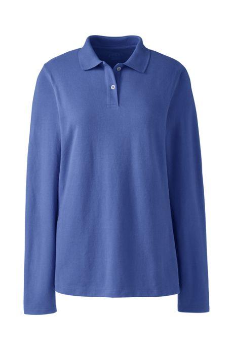 Women's Long Sleeve Basic Mesh Polo Shirt