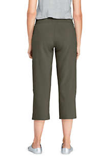 Women's Starfish Mid Rise Elastic Waist Pull On Crop Pants, Back