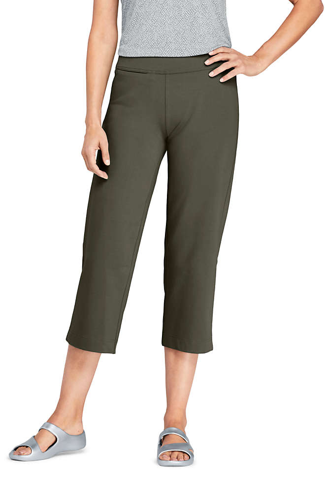 Women's Starfish Mid Rise Elastic Waist Pull On Crop Pants, Front