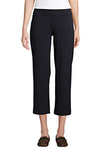 Women's Petite Starfish Mid Rise Elastic Waist Pull On Crop Pants, Front