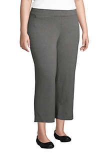 Women's Plus Size Starfish Mid Rise Elastic Waist Pull On Crop Pants, alternative image