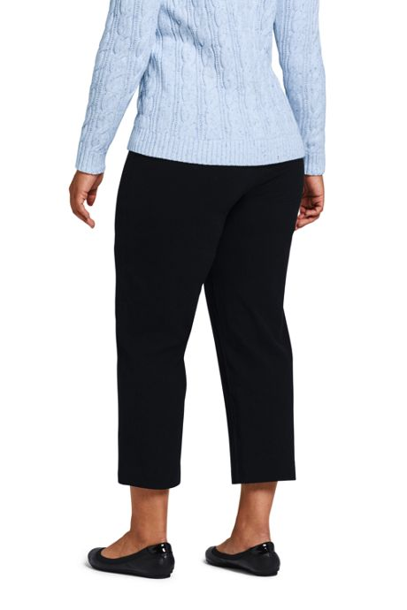 Women's Plus Size Petite Starfish Elastic Waist Pull On Capri Pants