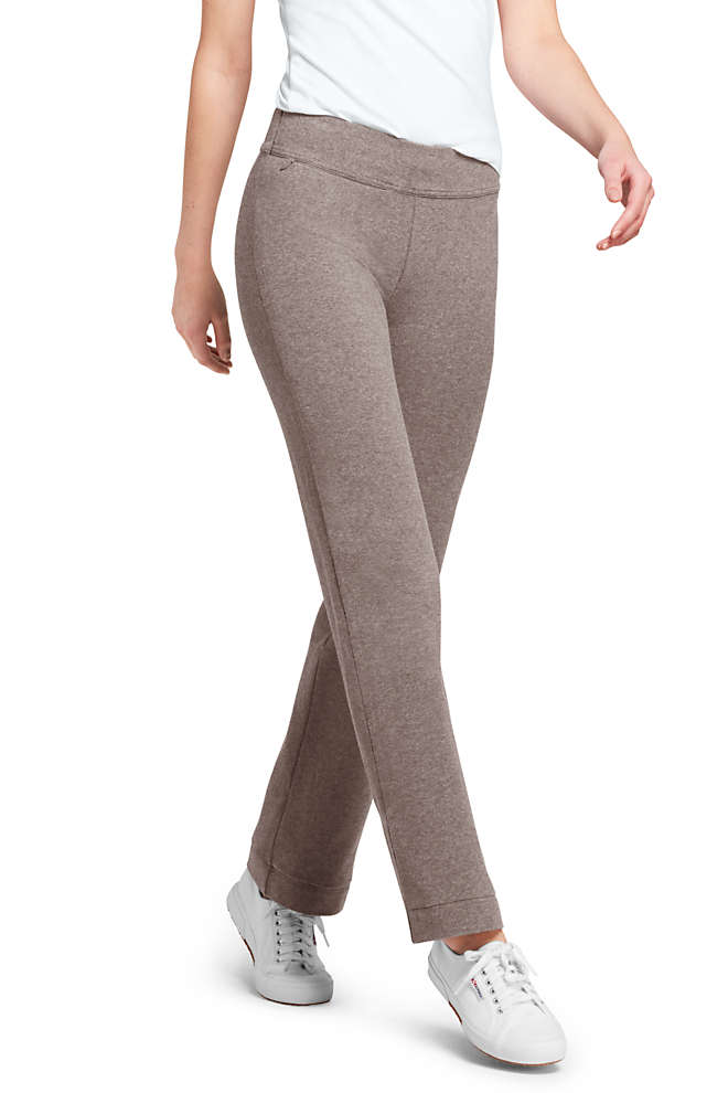 Women's Starfish Mid Rise Straight Leg Elastic Waist Pull On Pants, Front