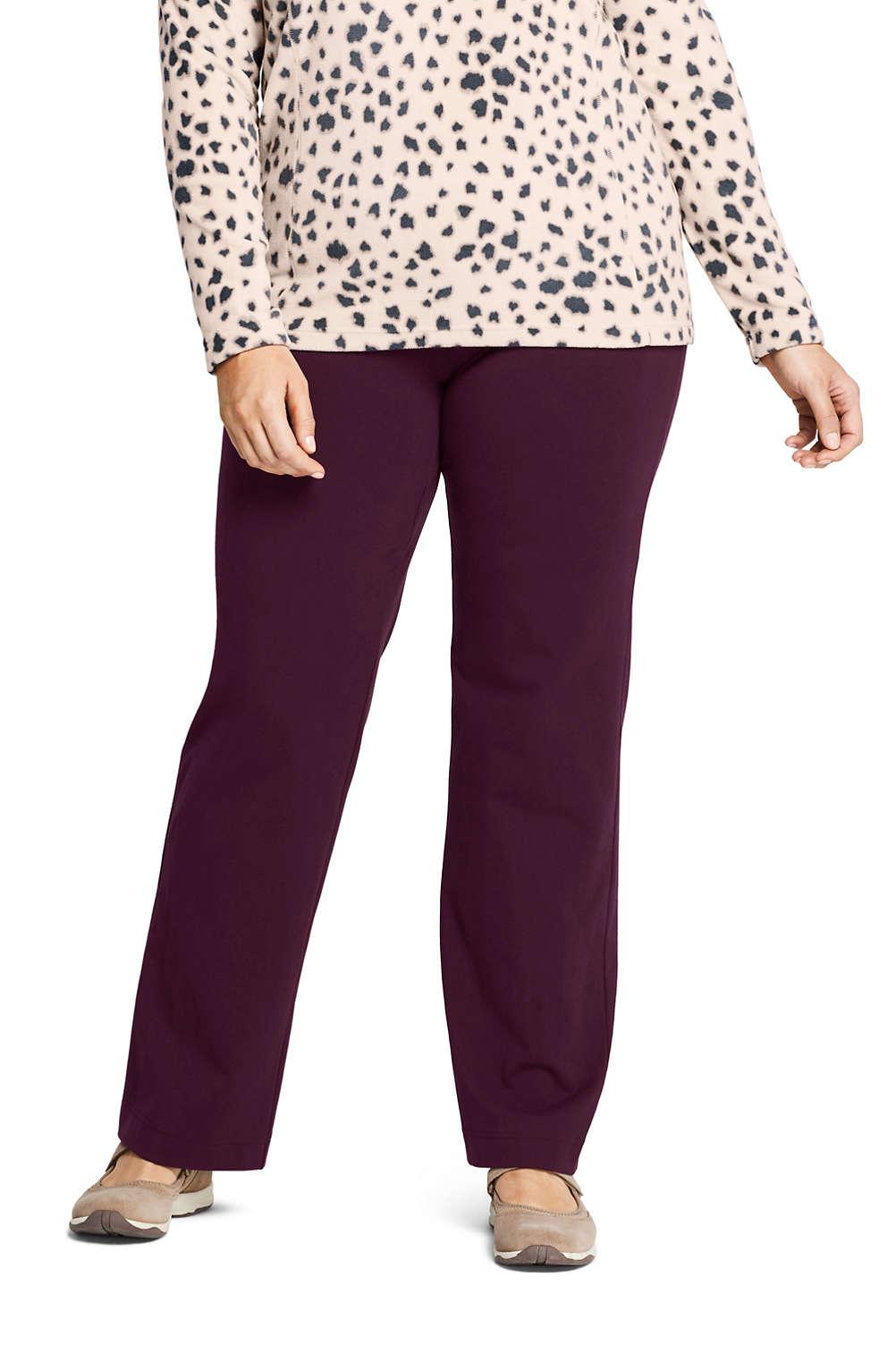 Women\'s Plus Size Starfish Mid Rise Straight Leg Elastic Waist Pull On Pants