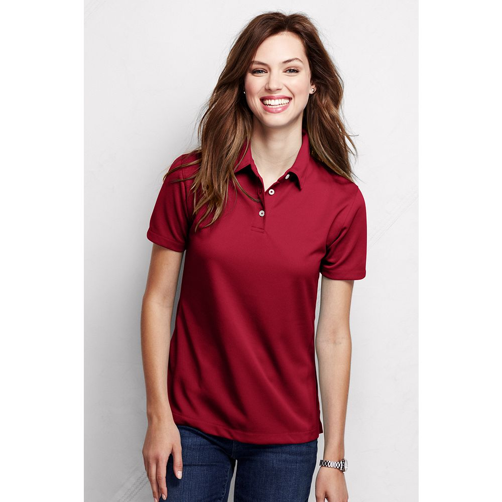 Lands' End Women's Plus Size Short Sleeve Active Pique Polo Shirt