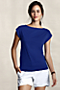 Women's Cotton-Modal Boatneck Tee from Lands' End :  short sleeves bateau boatneck modal