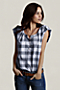 Women's Roll Sleeve Popover Shirt from Lands' End :  short sleeves blouse tab buttons