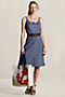 Women's Chambray Tie Waist Henley Dress from Lands' End