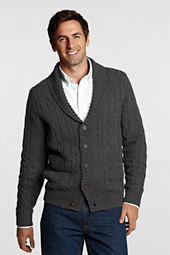 Men's Rustic Cotton Wool Cable Shawl Cardigan