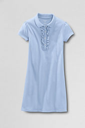 School Uniform Girls' Short Sleeve Knit Ruffle Front Dress