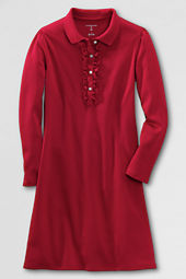 Girls' Long Sleeve Knit Ruffle Front Dress