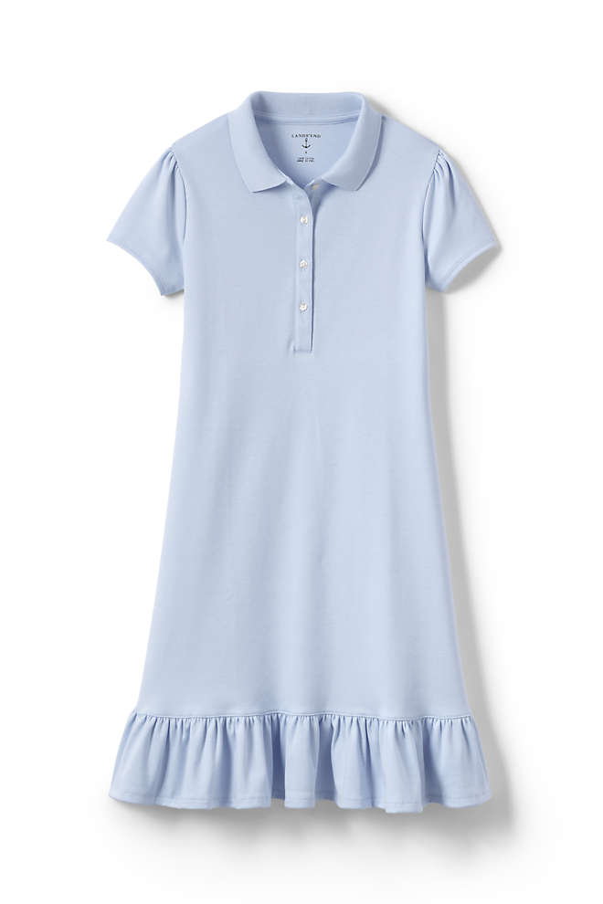 School Uniform Girls Short Sleeve Ruffle Hem Dress, Front