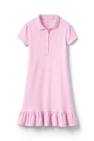 School Uniform Little Girls Short Sleeve Ruffle Hem Dress