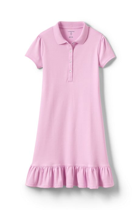 School Uniform Girls Short Sleeve Ruffle Hem Dress