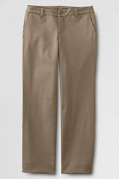 Girls' Plain Front Stain Resistant Stretch Chino Pants