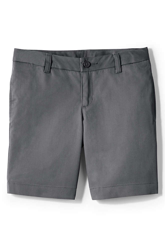 Girls Plain Front Blend Chino Shorts, Front