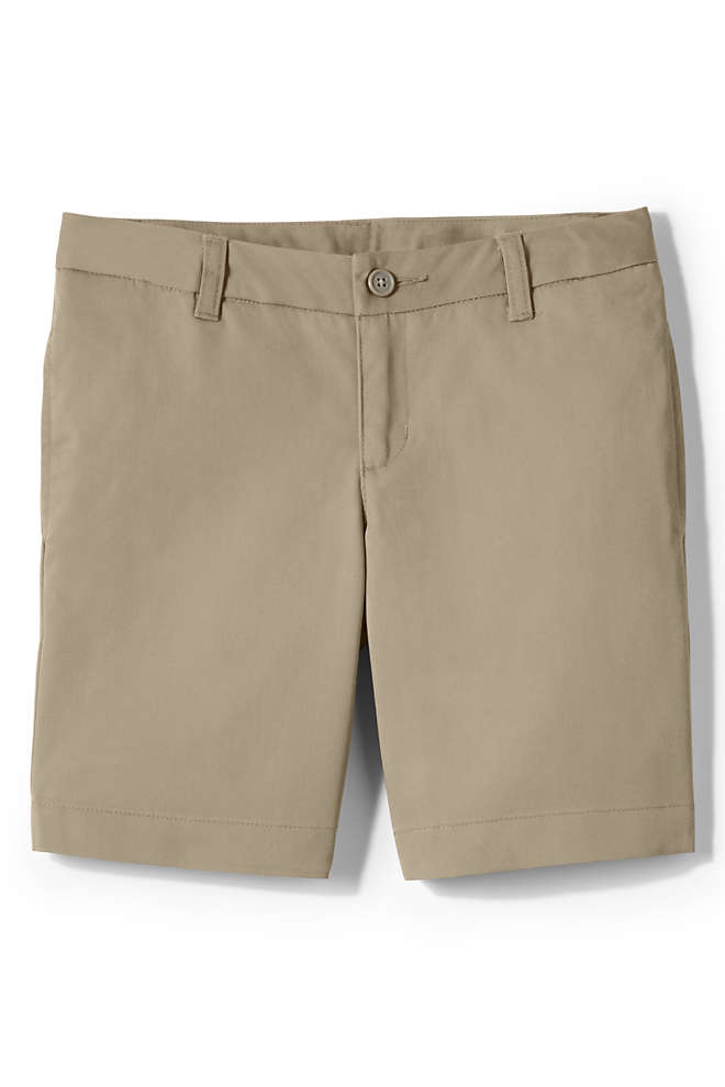 Toddler Girls Plain Front Blend Chino Shorts, Front