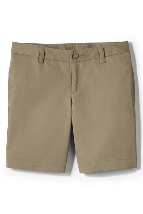 Girls Slim Plain Front Blend Chino Shorts