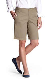 Women's Plain Front Blend Chino Shorts, Front