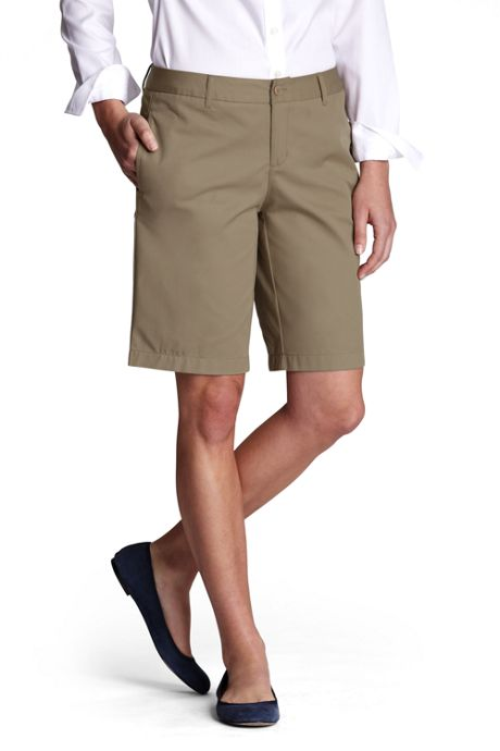 School Uniform Women's Tall Plain Front Blend Chino Shorts
