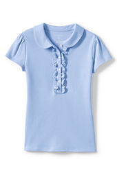 Girls' Short Sleeve Peter Pan Ruffle Front Knit Polo