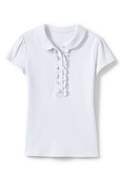 School Uniform Short Sleeve Peter Pan Ruffle Front Knit Polo