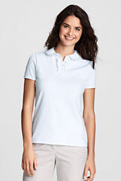 Women's Short Sleeve Peter Pan Ruffle Front Knit Polo Shirt