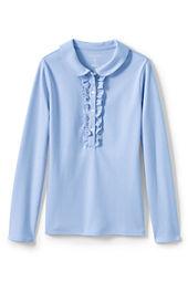 Girls' Long Sleeve Knit Peter Pan Ruffle Front Polo