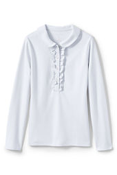School Uniform Long Sleeve Knit Peter Pan Ruffle Front Polo