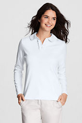 Women's Long Sleeve Knit Peter Pan Ruffle Front Polo Shirt