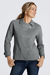 Women's Fleece Pea Coat Cardigan
