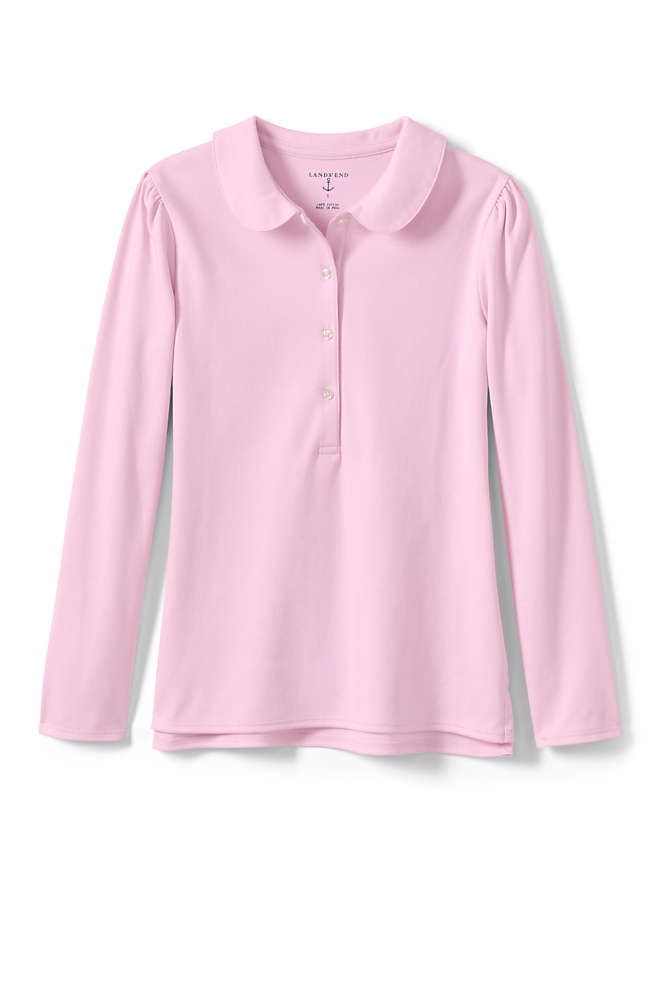 Little Girls Long Sleeve Peter Pan Collar Polo Shirt, Front
