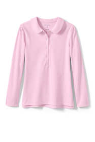 School Uniform Little Girls Long Sleeve Peter Pan Collar Polo Shirt