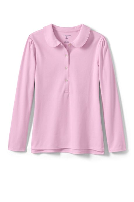 Little Girls Long Sleeve Peter Pan Collar Polo Shirt