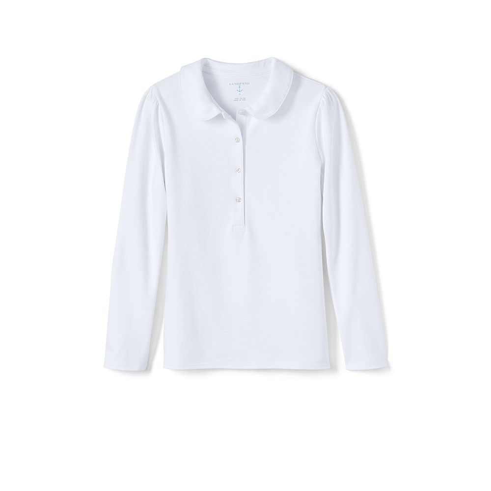Lands' End NQP Girls' Long Sleeve Knit Peter Pan Polo Shirt at Sears.com