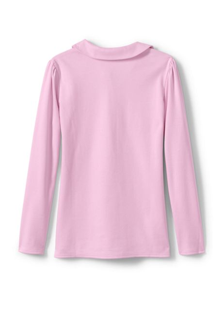Little Girls Long Sleeve Peter Pan Polo
