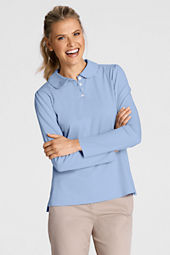 Women's Long Sleeve Knit Peter Pan Polo Shirt