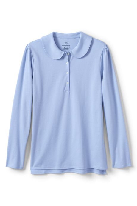 School Uniform Women's Long Sleeve Peter Pan Collar Polo Shirt