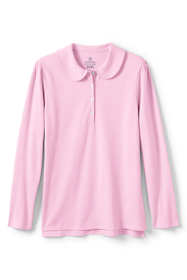 School Uniform Women's Long Sleeve Peter Pan Collar Polo Shirt