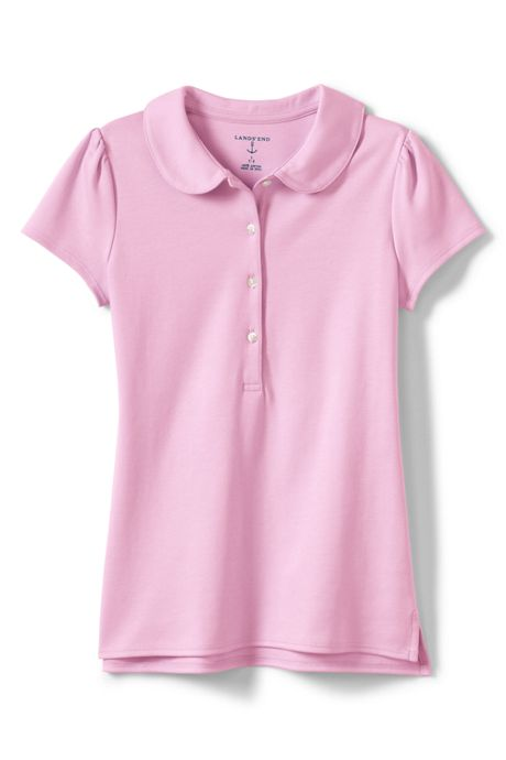 School Uniform Little Girls Short Sleeve Peter Pan Collar Polo Shirt