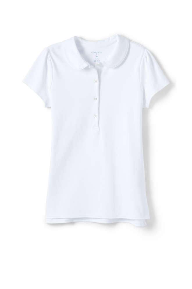 School Uniform Girls Short Sleeve Peter Pan Collar Polo Shirt, Front