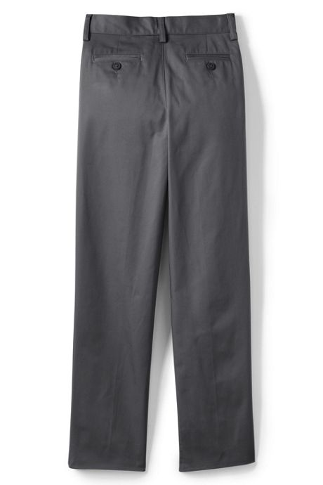 Boys Iron Knee Blend Plain Front Chino Pants