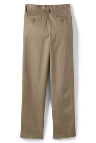 School Uniform Little Boys Iron Knee Blend Plain Front Chino Pants