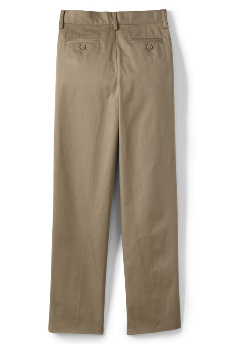 School Uniform Boys Husky Iron Knee Blend Plain Front Chino Pants