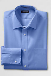 Men's Spread Collar Tailored Solid No Iron Pinpoint Dress Shirt