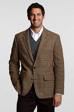 Traditional 2-button Patch Washed Wool Jacket 406150: Dark Mahogany Houndstooth