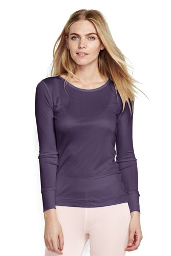 Women's Regular Lightweight Feminine Silk Thermal Crew Neck Tee