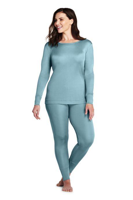 Women's Plus Size Silk Base Layer Long Underwear Crew